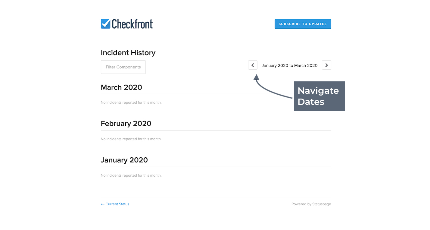 Checkfront Incident History Navigate Dates