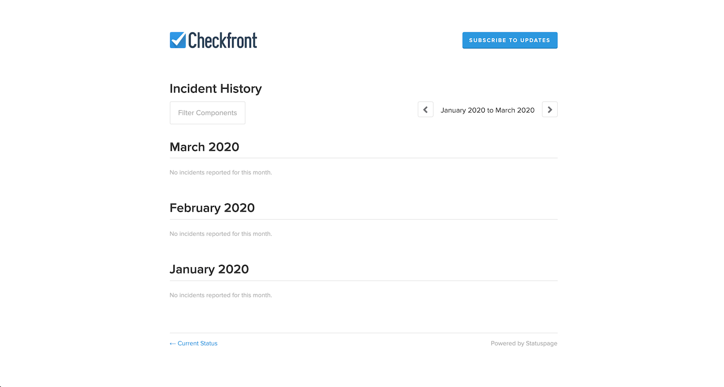 Checkfront Incident History