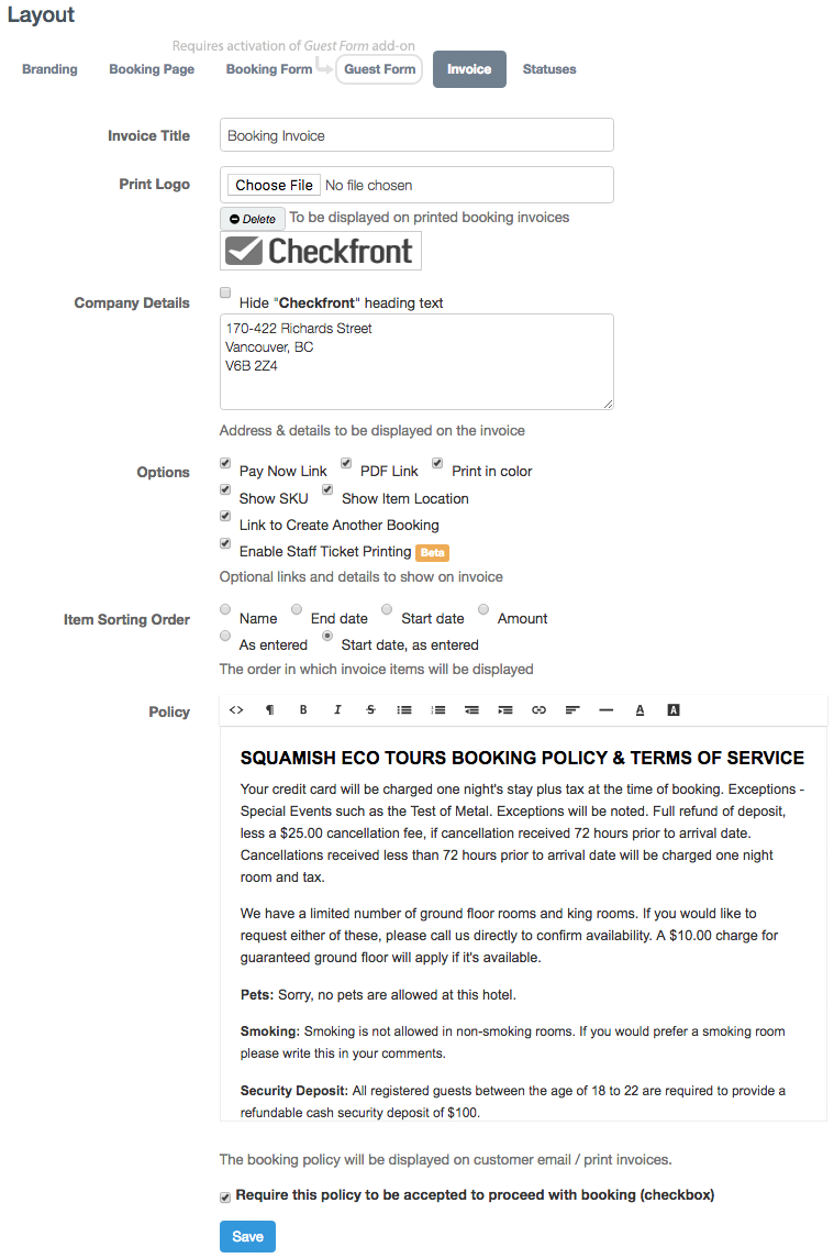 Invoice Layout Checkfront Support - Invoice details
