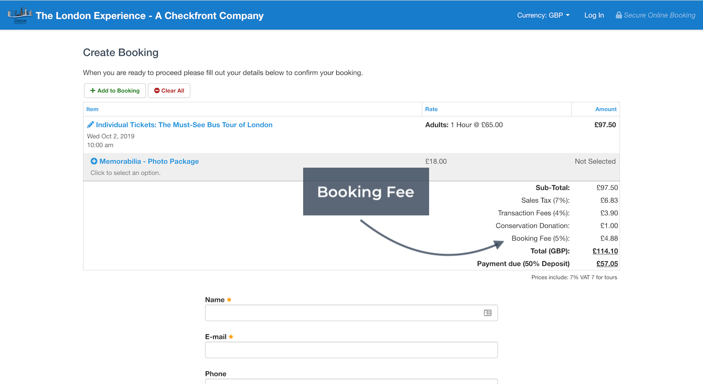 Create Booking with Booking Fee