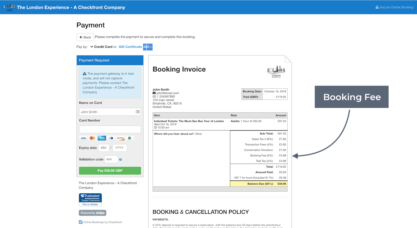 Booking Invoice with Booking Fee