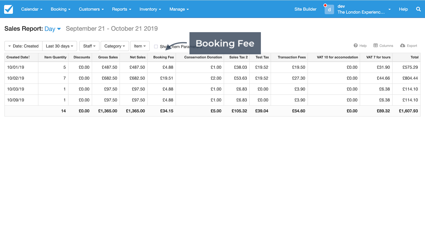 Sales Report and Booking Fee