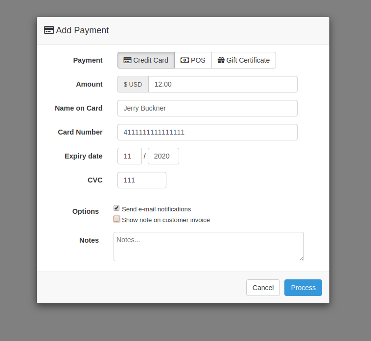 Add Payment Staff-side