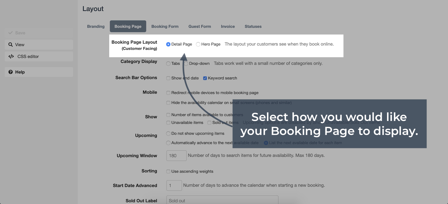 Booking Page Layouts