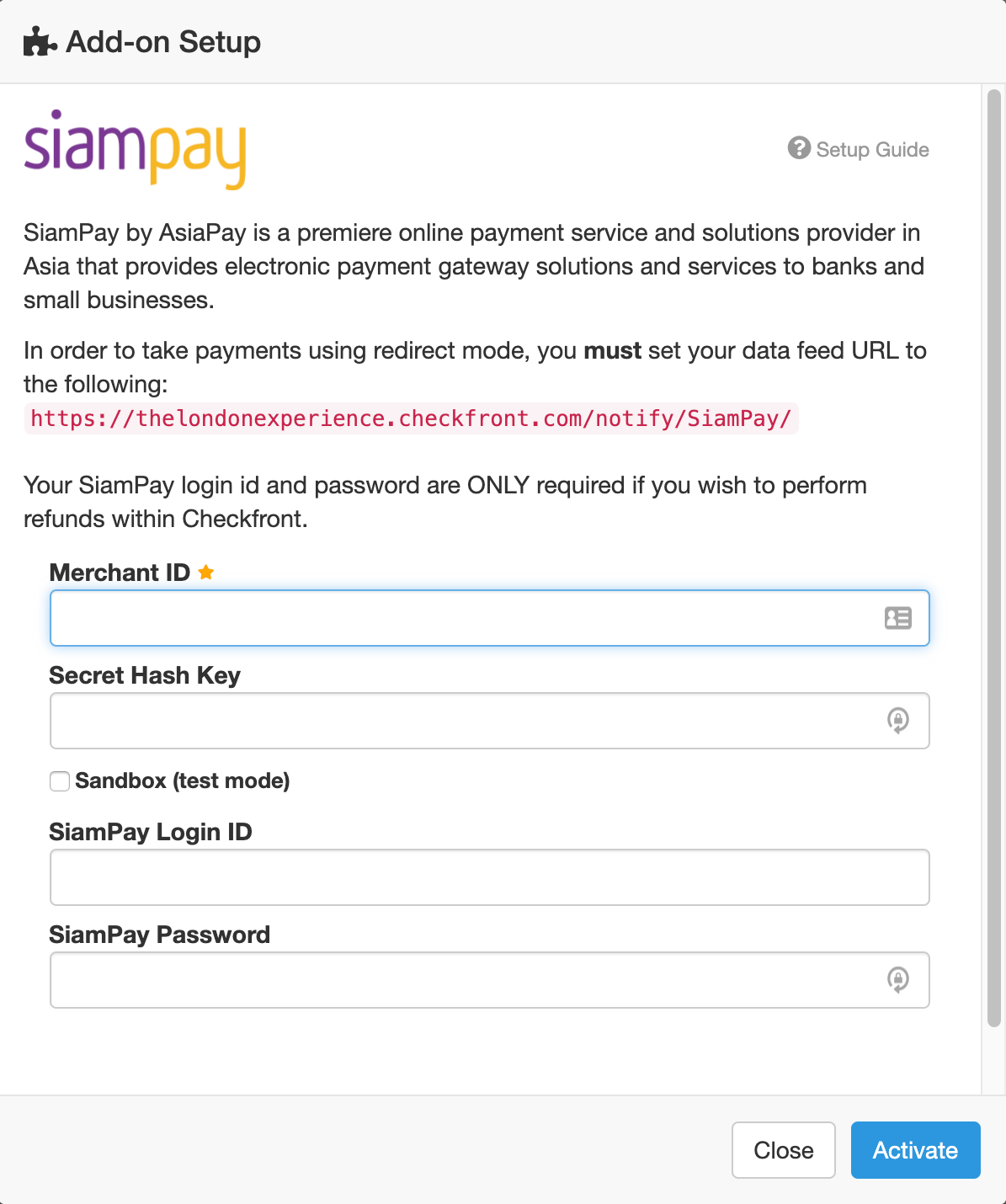 Ecommerce setup payment SiamPay modal