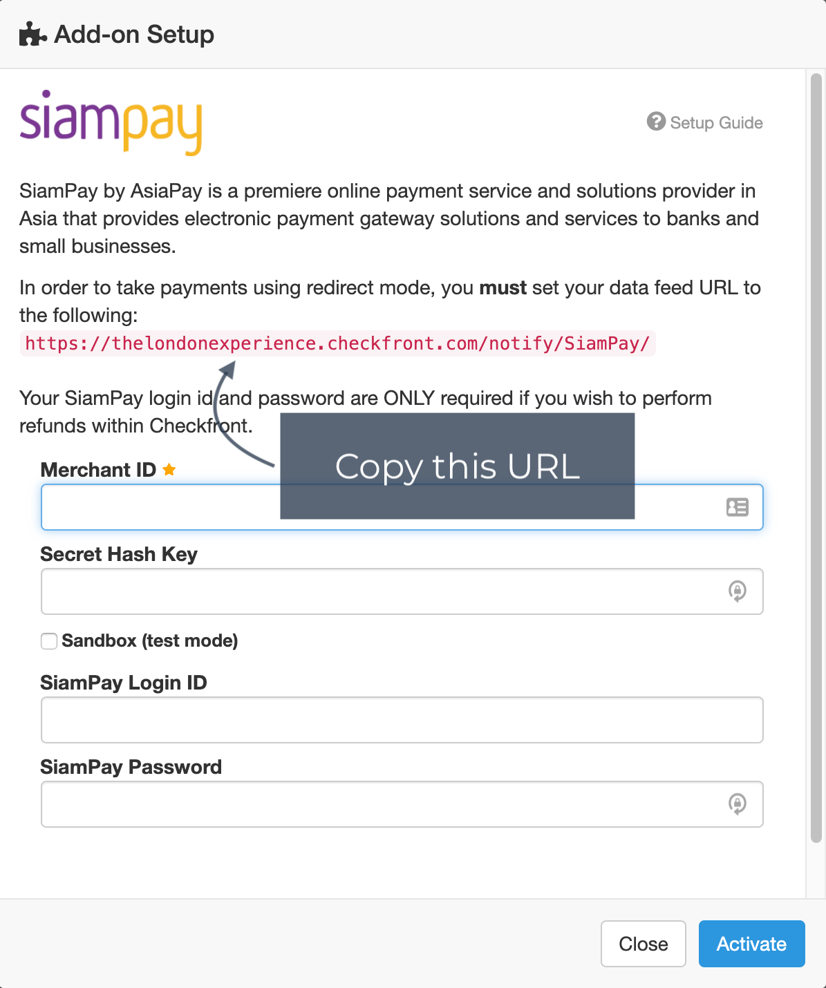 Ecommerce setup payment SiamPay modal annotated