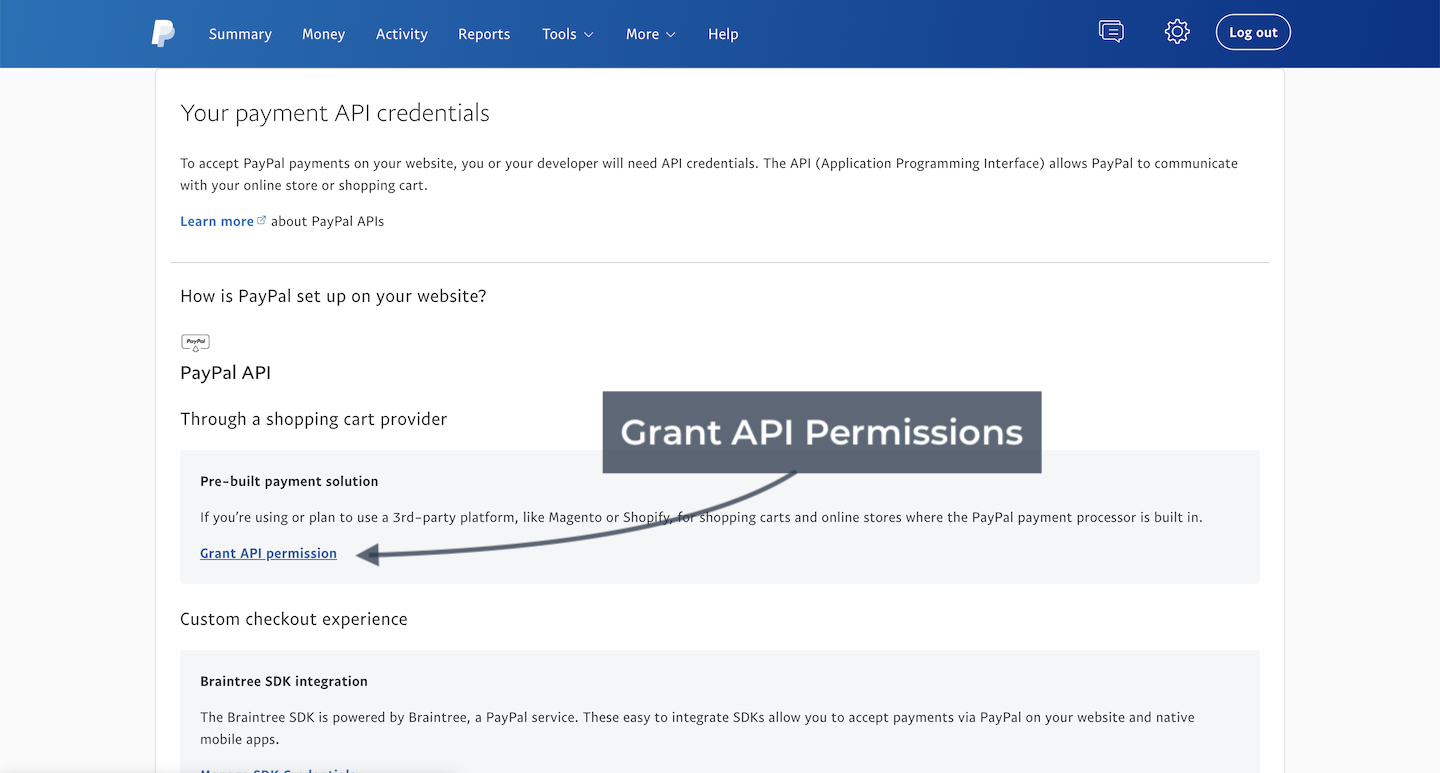 Paypal grant permissions
