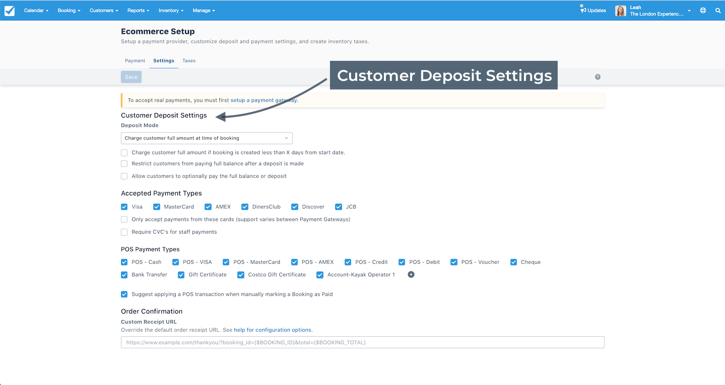 Customer Deposit Settings