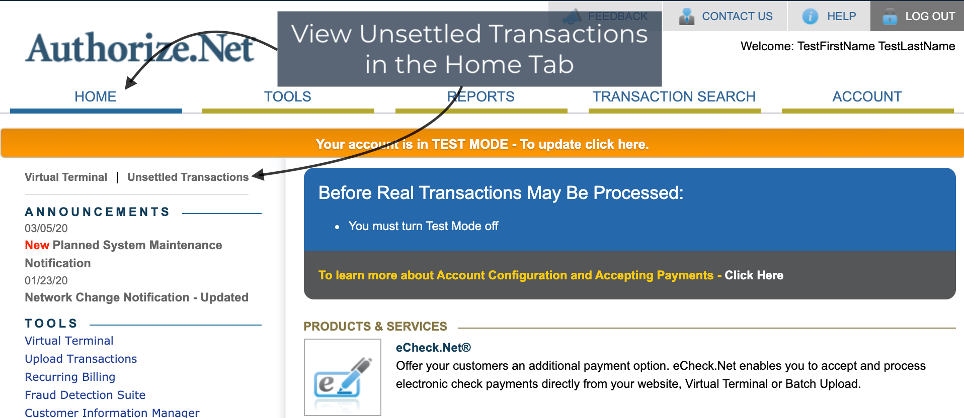 AuthNet Unsettled Transactions
