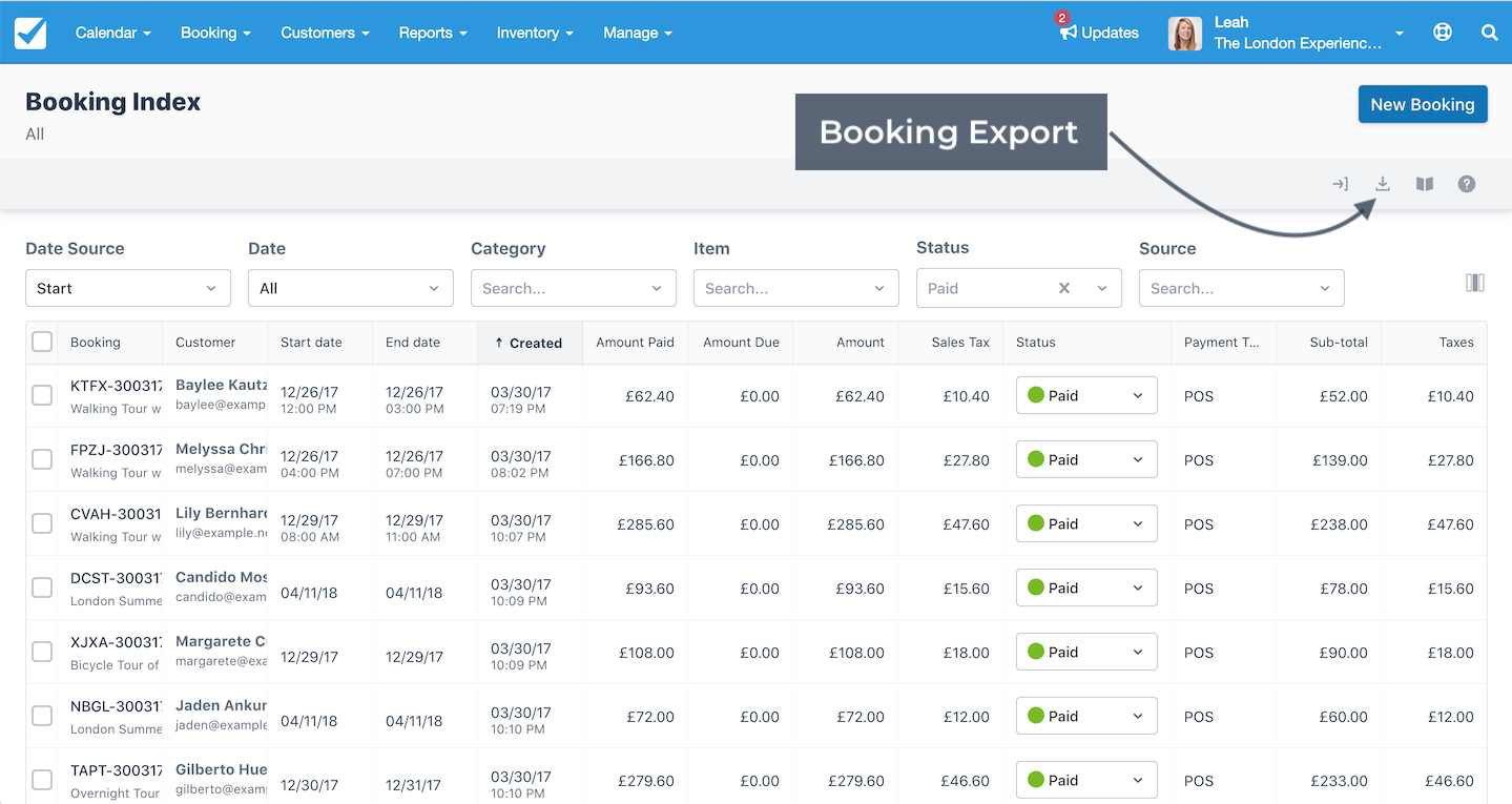 Booking Index Export