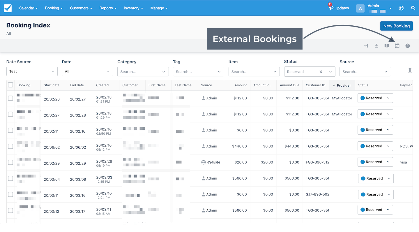 Booking Index External Bookings