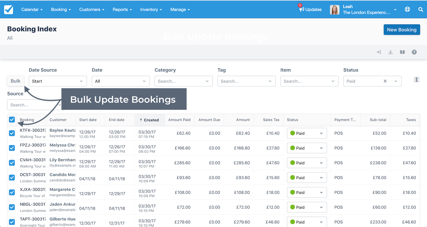 Booking Index Bulk Update