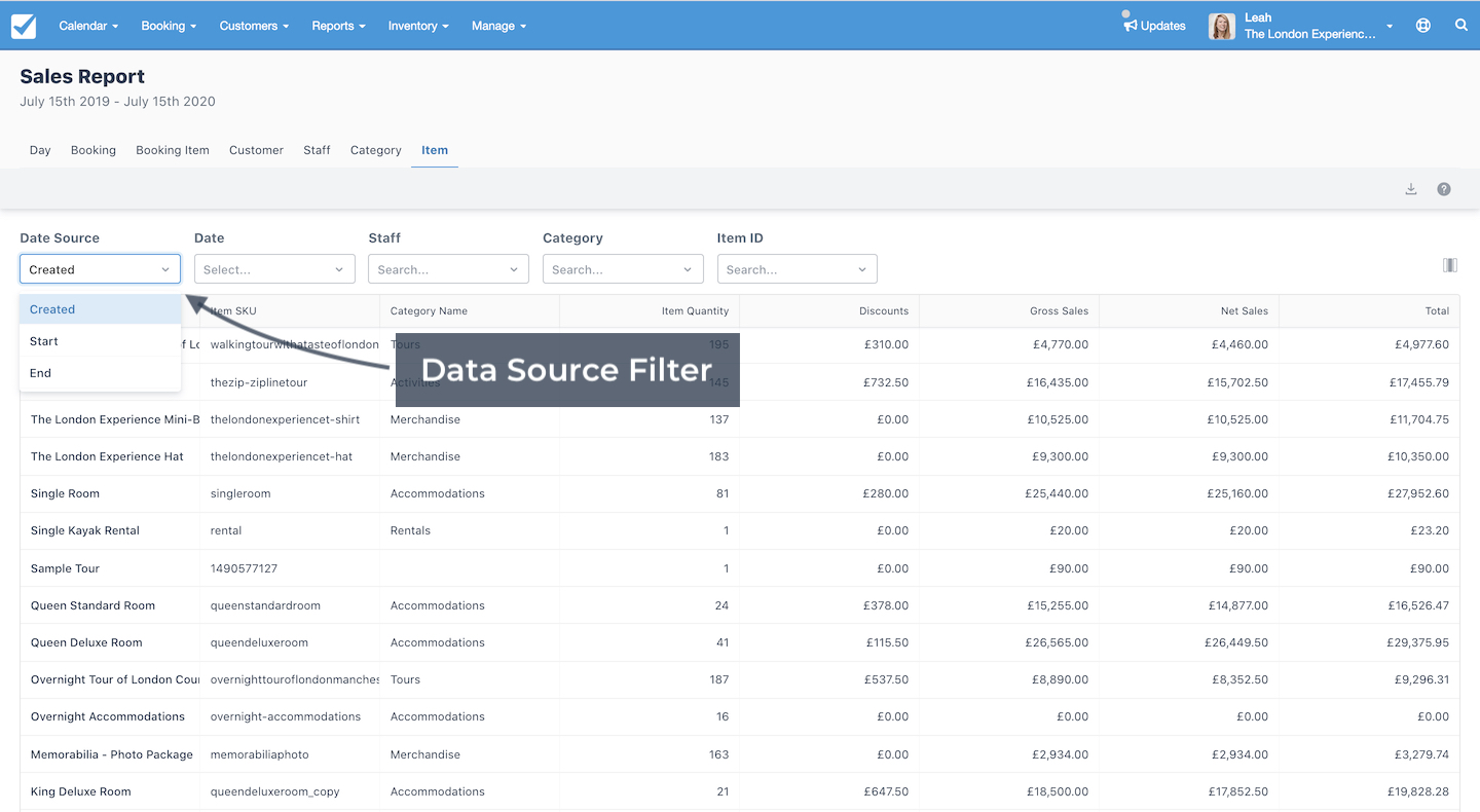 Sales Report Data Source Filter