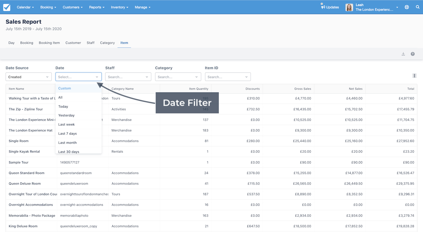 Sales Report Date Filter