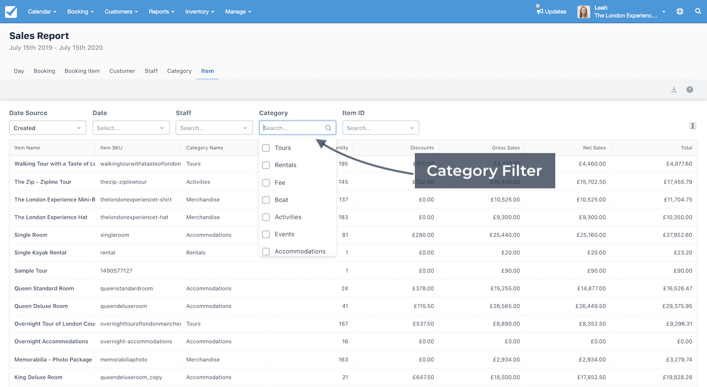 Sales Report CategoryFilter