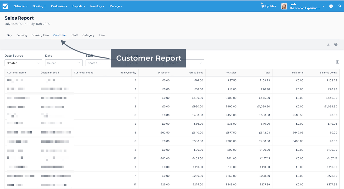 Sales Report Customer Report