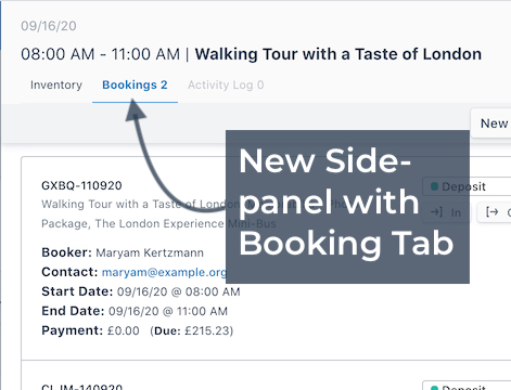 Booking Tab