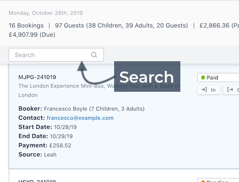 Search Booking Details