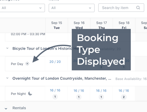Booking Type Displayed