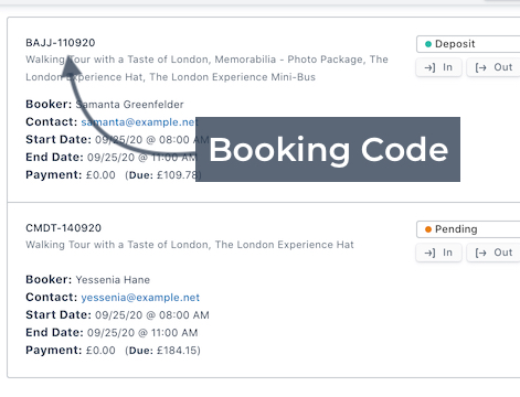 Booking Code