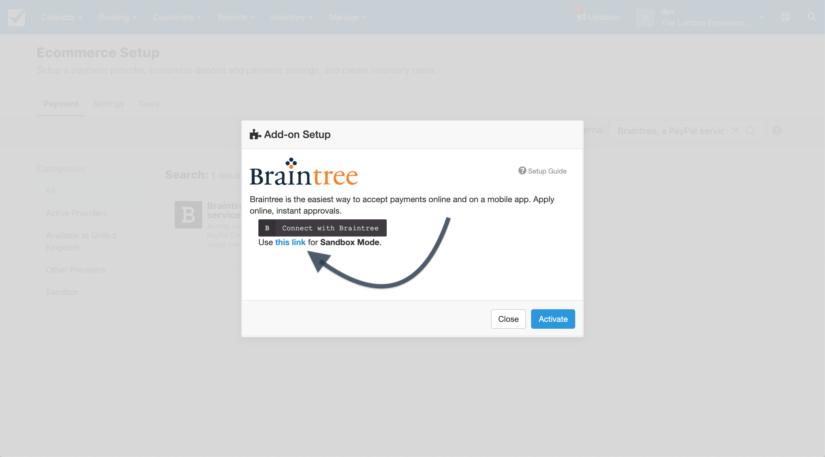 Braintree a PayPal Service sandbox mode