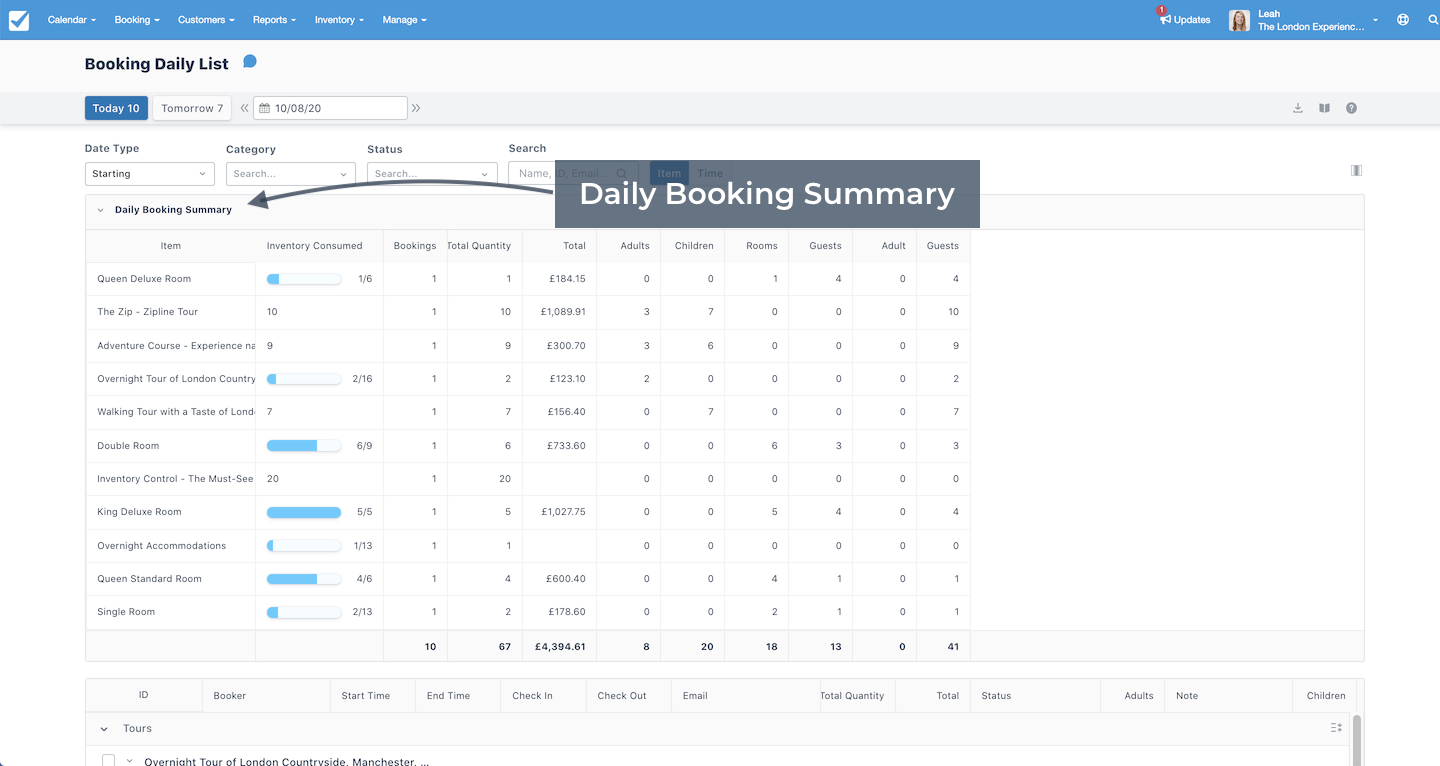 Daily Booking Summary
