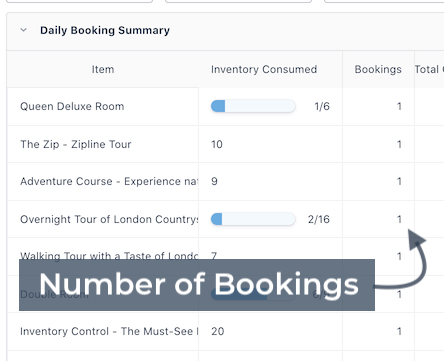 Daily Summary Number of Bookings